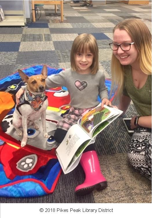 Patrons with Sky, one of Rockrimmon Library's Paws to Read dogs