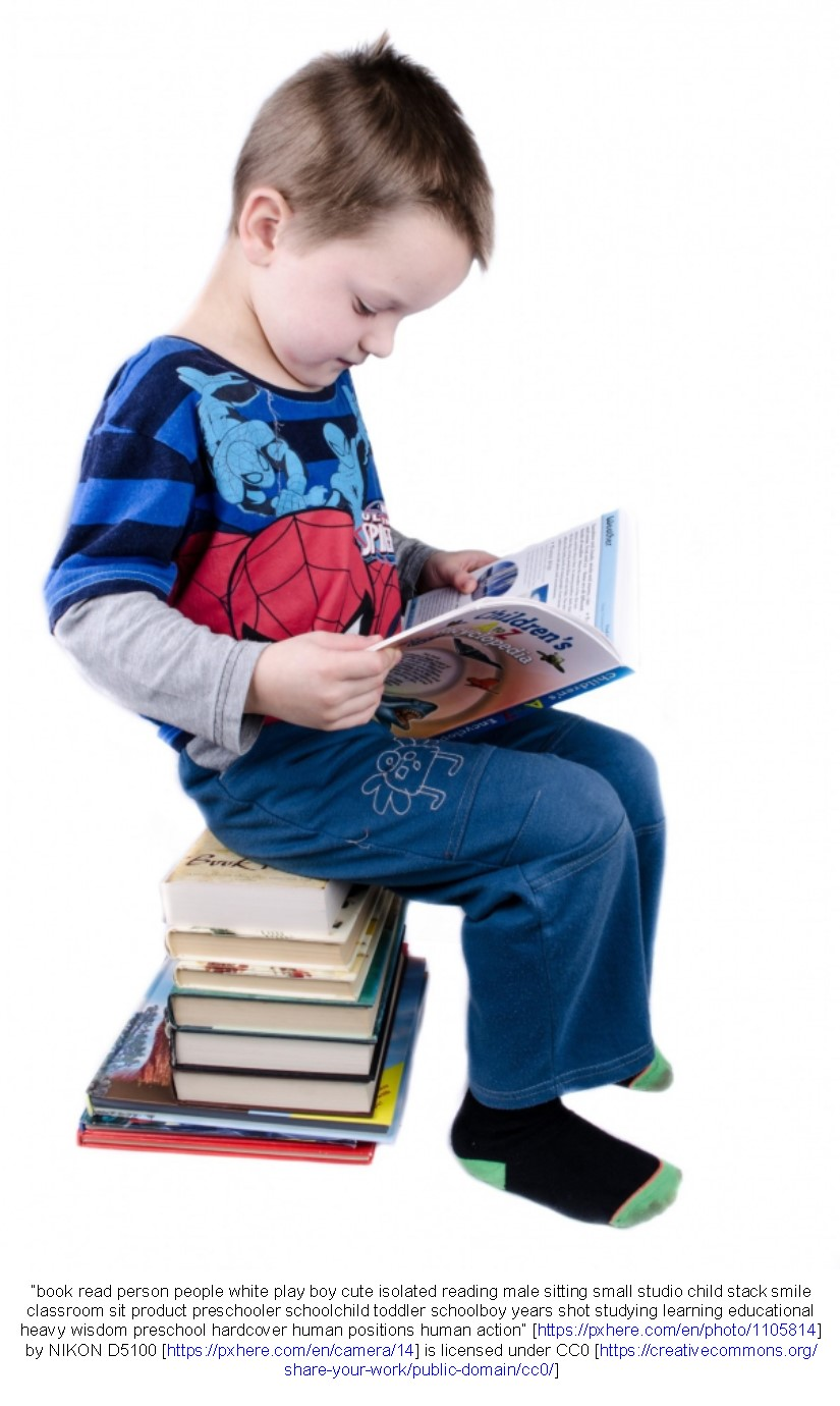 Child sitting on a stack of books and reading
