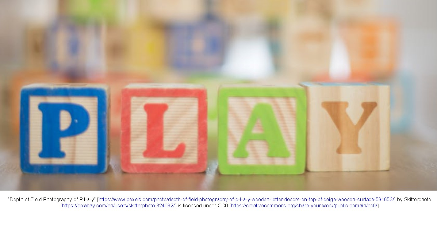"Wooden blocks spelling the word, ""Play"""
