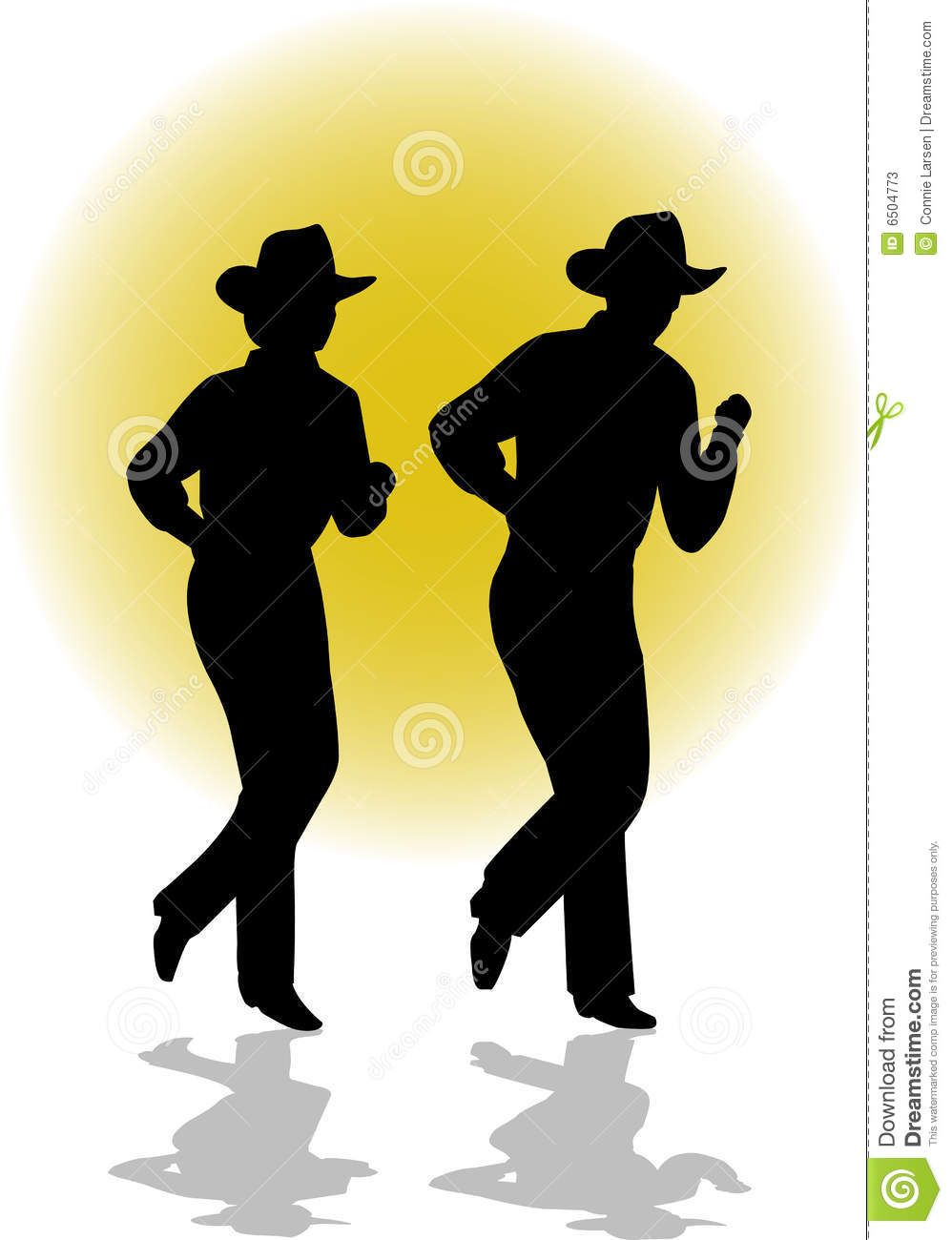 Silhouette of line dancers
