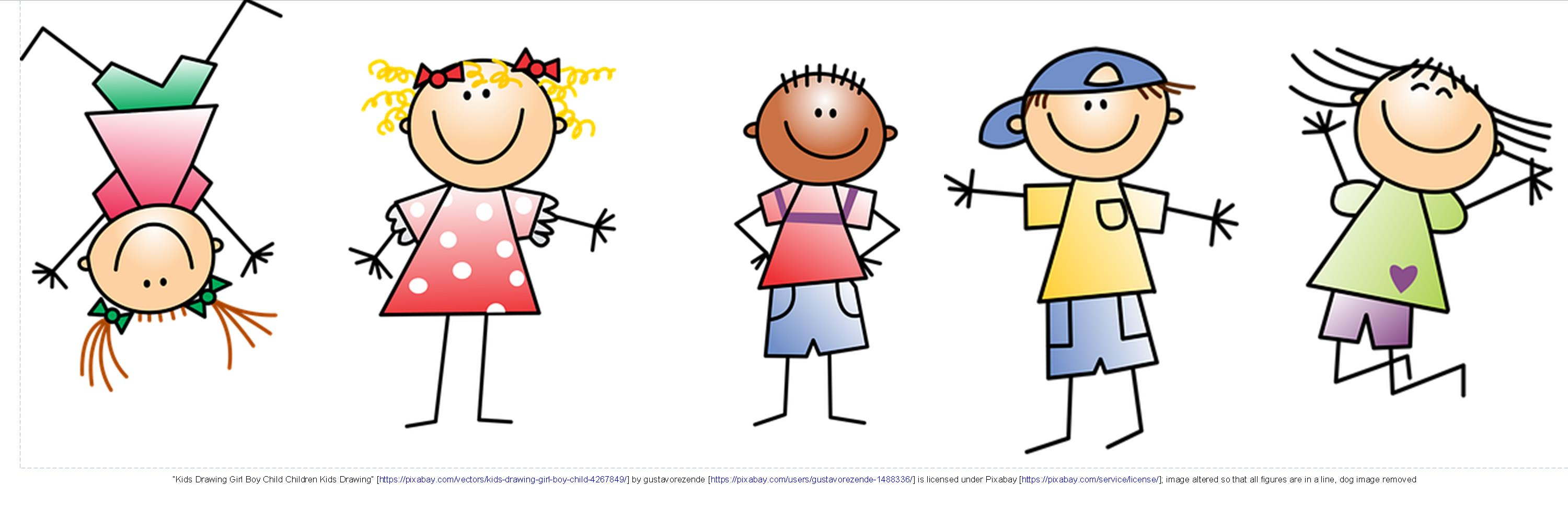 Cartoon illustration of children standing in a line