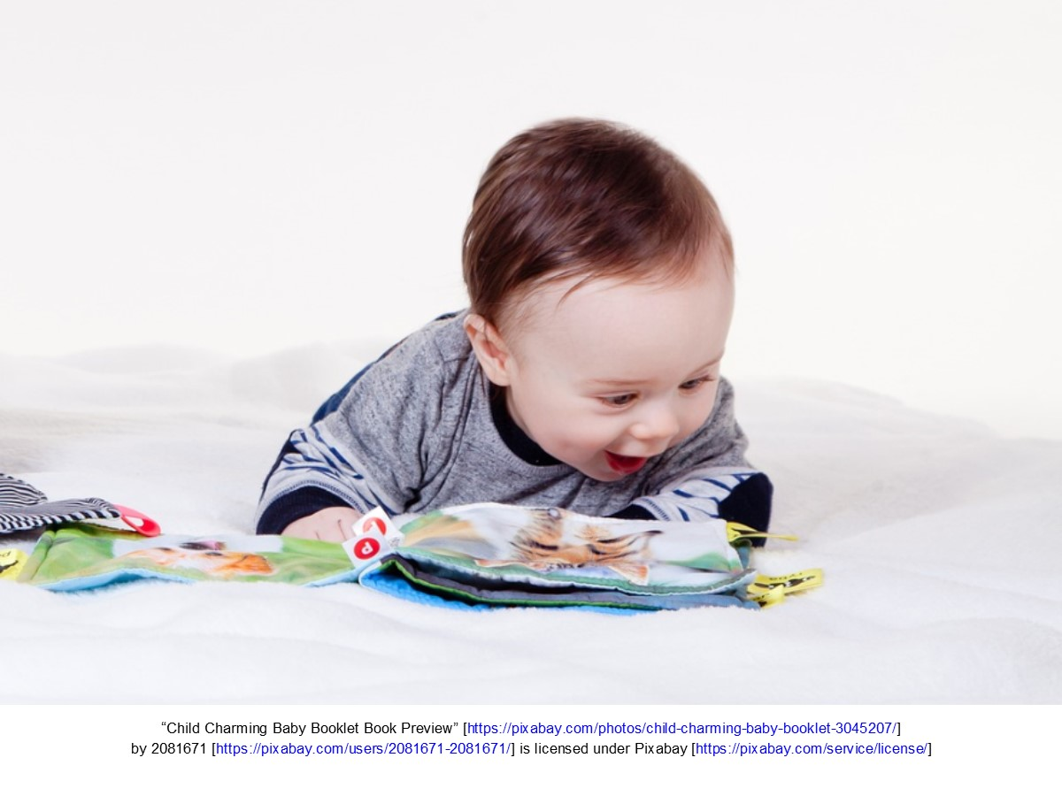 Young toddler with book