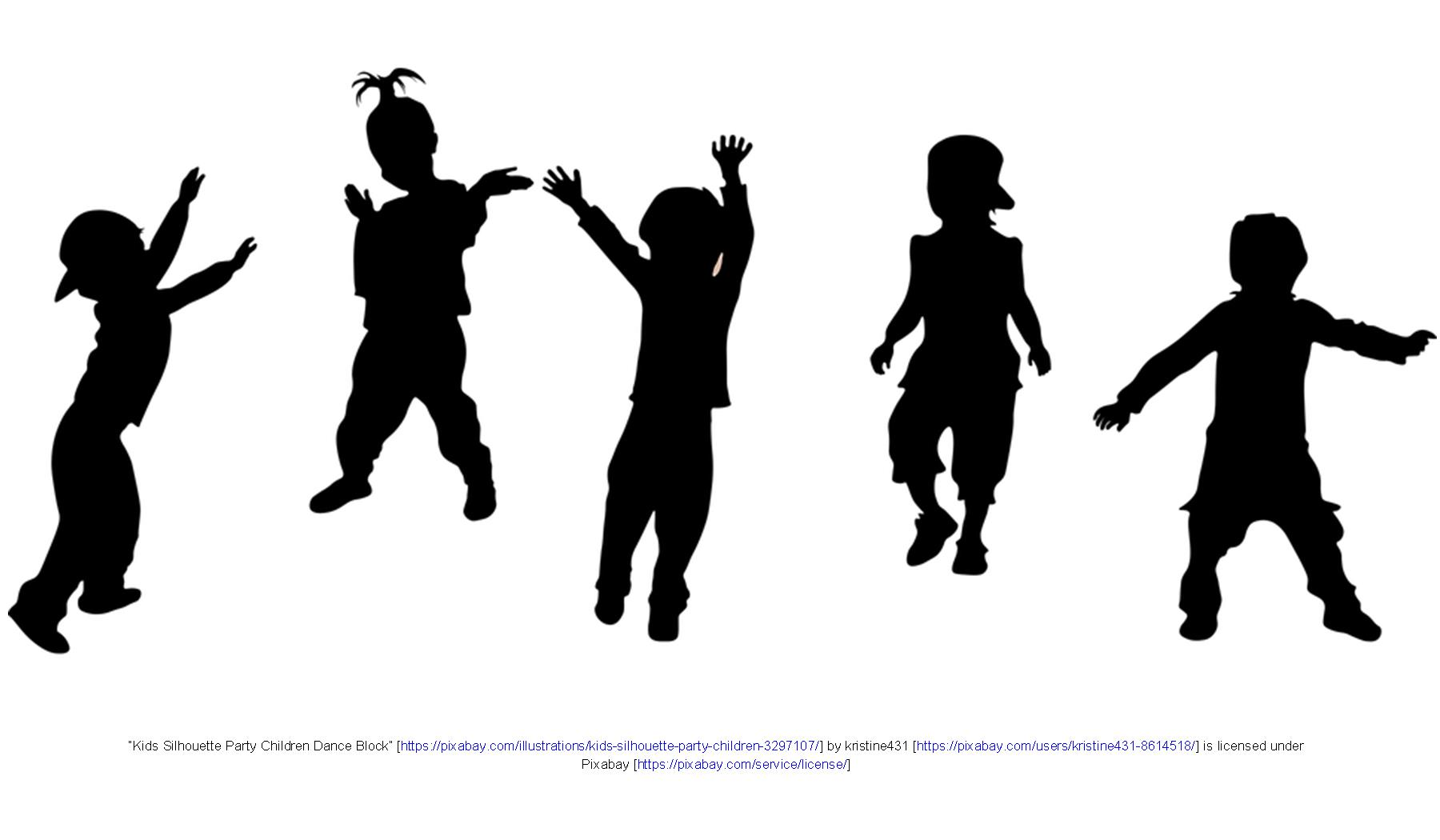 Silhouettes of children jumping and playing