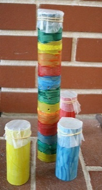 Colorful noise makers made out of re-used paper tubes