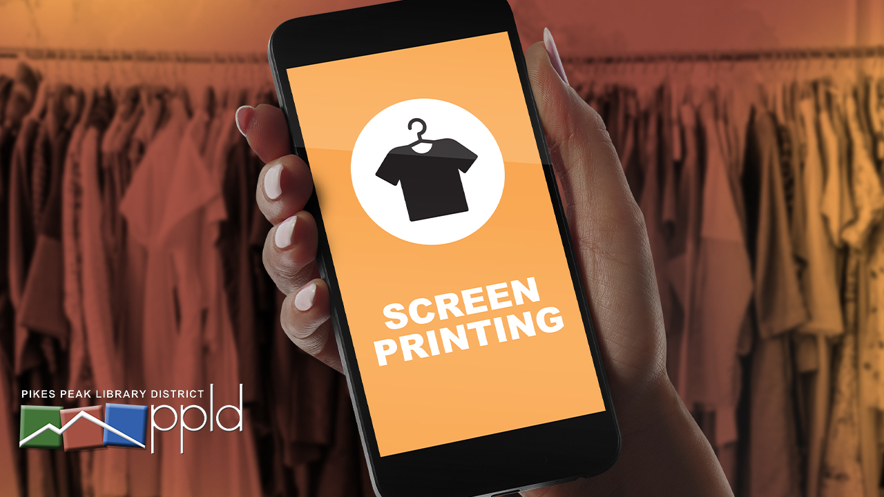Image of a phone with the text Screen Printing beneath a t-shirt.