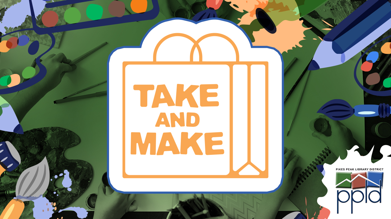 The Take and Make Logo (the words Take and Make on a paper bag)