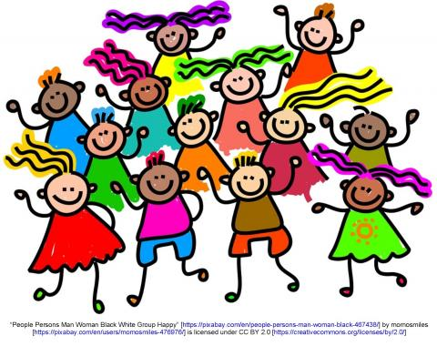Cartoon clip art, group of children dancing
