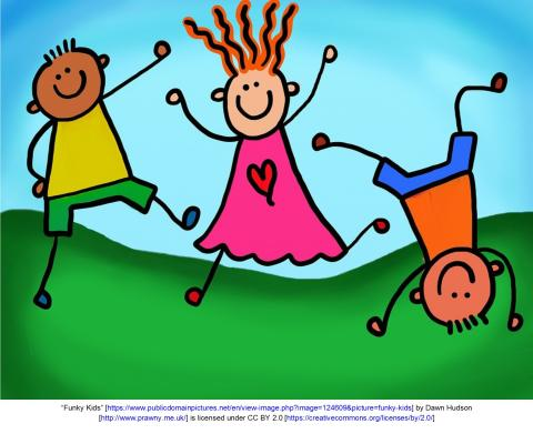 Animated picture of children dancing and tumbling