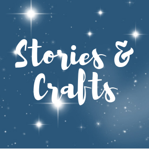 "Wording ""Stories & Crafts"" with a nighttime starry background"