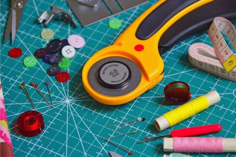 Tools for mending and sewing clothing.
